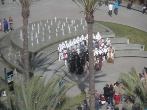 Casual gathering of Star Wars costumes